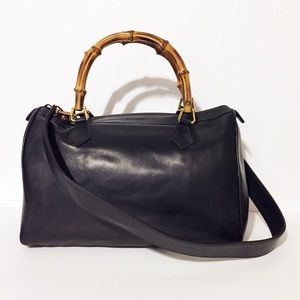 Gucci bamboo handle black leather boston bag